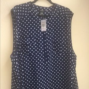 Navy blue sleeveless  blouse.